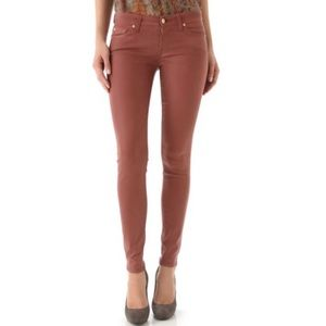 7 For All Mankind Skinny Coated Gummy Jeans